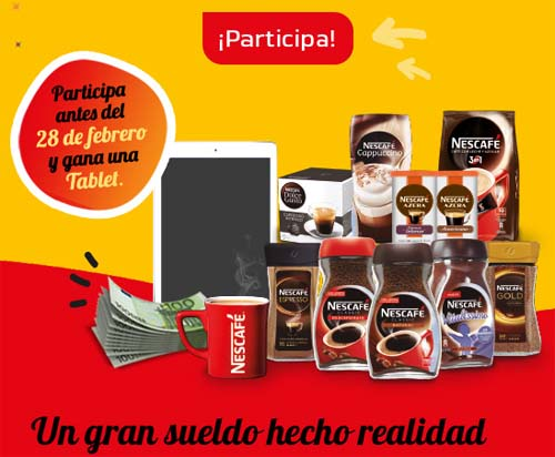 sorteo tablet nestle nescafe