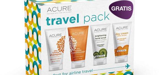 pack de viaje de la marca acure gratis
