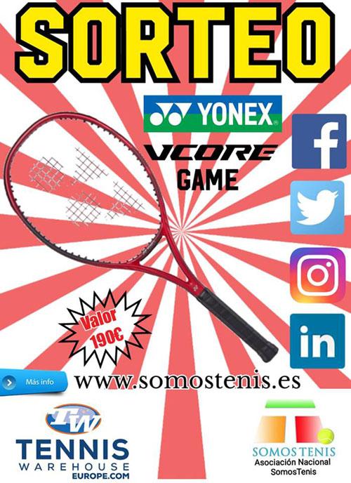 sorteo de una raqueta de tenis yonex vcore game