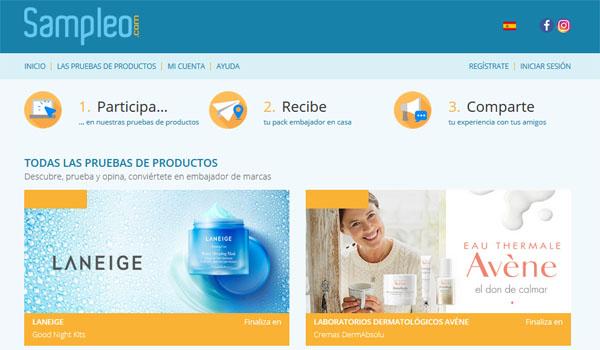 página web de sampleo para recibir productos gratis probarlos y opinar sobre ellos
