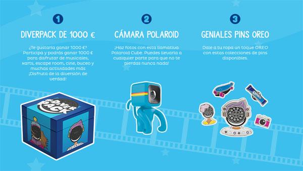 premios de la promoción de oreopeople para ganar 1000€, pins o cámara polaroid