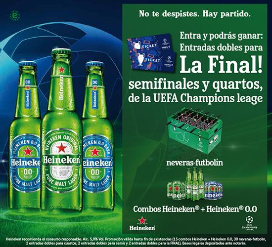 promocion de heineken para entrar en el sorteo de entradas para la final de la Champions League y conseguir más premioss