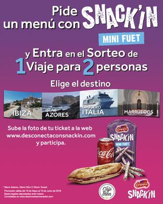 Sorteo de un viaje para dos personas valorado en 3000€ gracias a Snack'in minifuet de campofrio