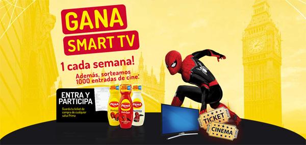 Promoción de PRIMA para ganar Smart TV y entradas de cine para ver Spiderman