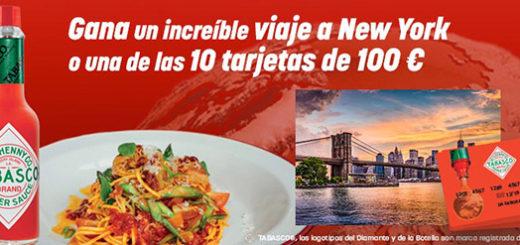 Gana un viaje a Nueva york para dos personas o tarjeta regalo valorada en 100€ gracias a la promoción de Tabasco