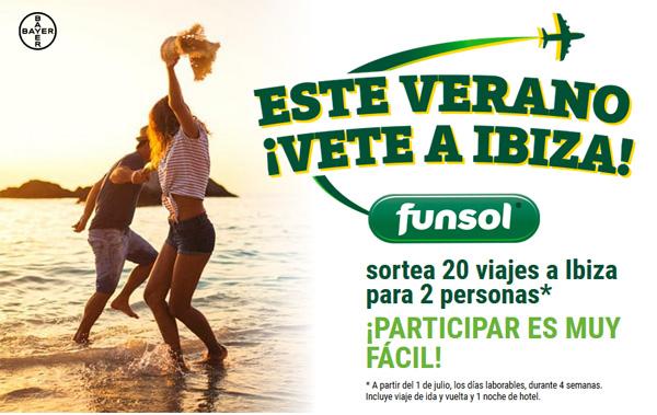 Promoción de funsol con el sorteo de un viaje para dos personas de Ibiza