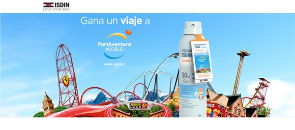 promoción de ISDIN Pediatrics con Sorteo para 4 personas a Port Aventura