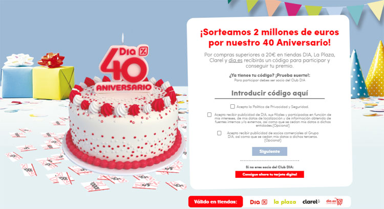 Codigos 40 Aniversario DIA
