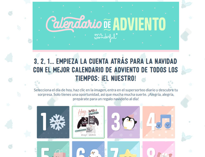 calendario adviento mister wonderful